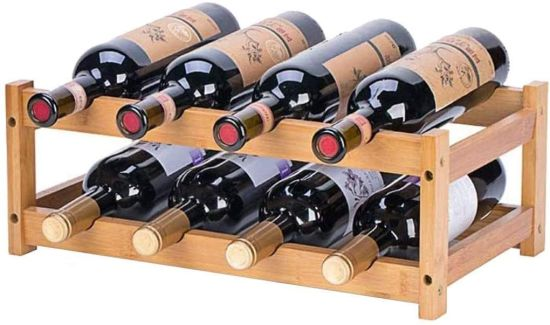Bamboo Wine Rack Furniture Red Wine Bottle Holder Wine Display Stand for Pantry Cabinet Bar
