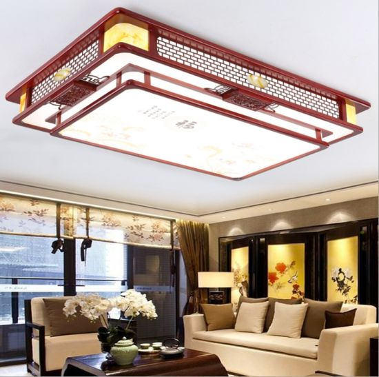 LED Ceiling Light 3 Rooms and 2 Whole House Lamps Set in Combination of New Chinese Style Solid Wood Living Room Lamp Sheepskin Bedroom Lamp