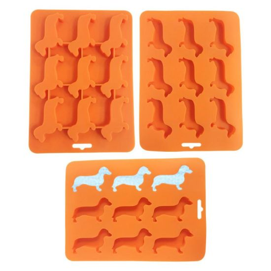 Dog Shape Silicone BPA-Free Stackable Easy Release Ice Molds/Trays
