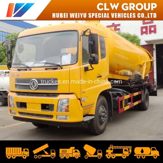 Dongfeng 12000L Vacuum Tank Sewer Suction and High Pressure Cleaning Truck