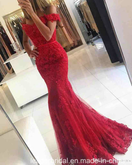 off Shoulder Party Prom Gowns Red Lace Mother of The Evening Dress E02 pictures & photos