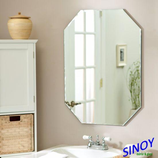 Polished Edge Silver Mirror Glass, Oval Frameless Bathroom Mirror