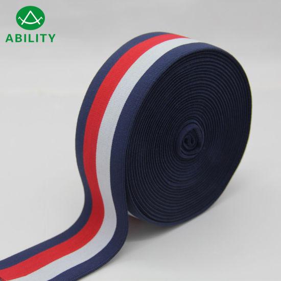 50mm Nylon Multi-Color Stripe Soft Jacquard Waistband Elastic Webbing