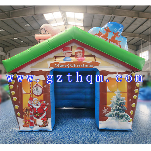 Outdoor Christmas Decoration Inflatable Santa House/Funny Inflatable Christmas House Decoration/Good Quality Inflatable Booth