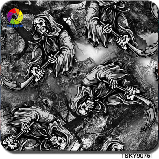 graphic about Printable Hydrographic Film named Tsautop Fresh Introduction 1m Width Skull Style and design PVA Hydrographic Motion picture Hydro Dipping Movie Drinking water Go Printing Motion picture Tskk923