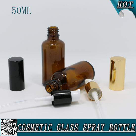 50ml Amber Glass Lotion Bottle Glass Essential Bottle for Olive Oil pictures & photos
