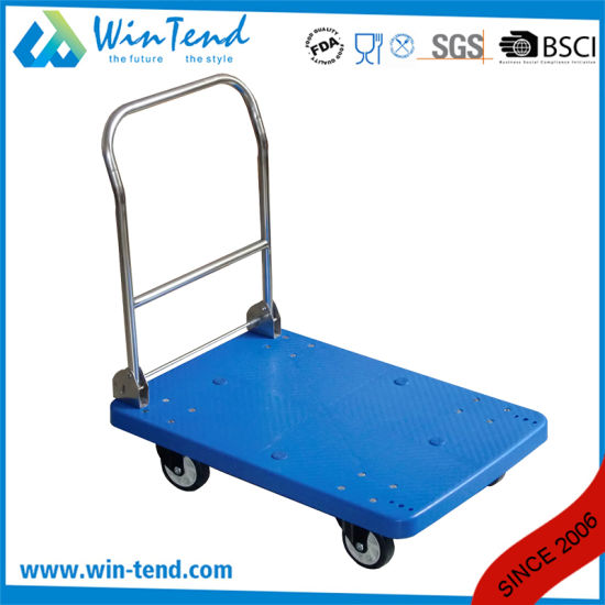 2 Tier Plastic Heavy Duty Cargo Push Utility Cart pictures & photos
