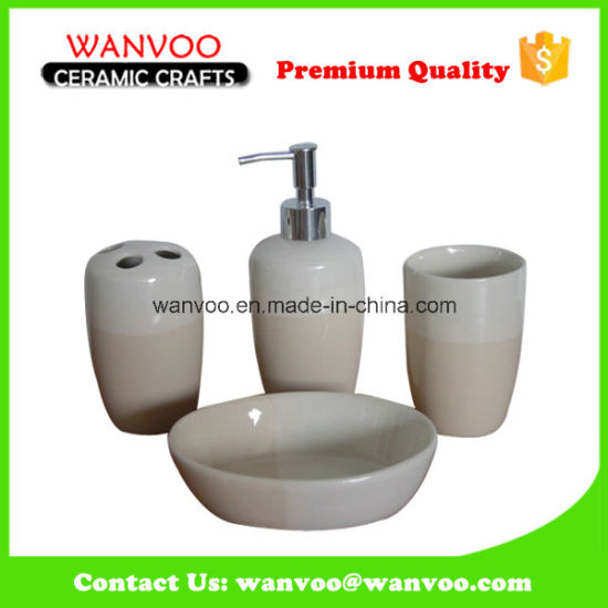 Green Color Glazed 4 Piece Ceramic Soap Dispenser Bathroom Set pictures & photos