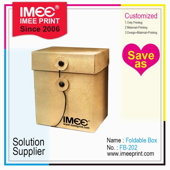 Imee Printed Custom Cube Cubic String Button Cardboard Kraft Paper Storage Carton Box