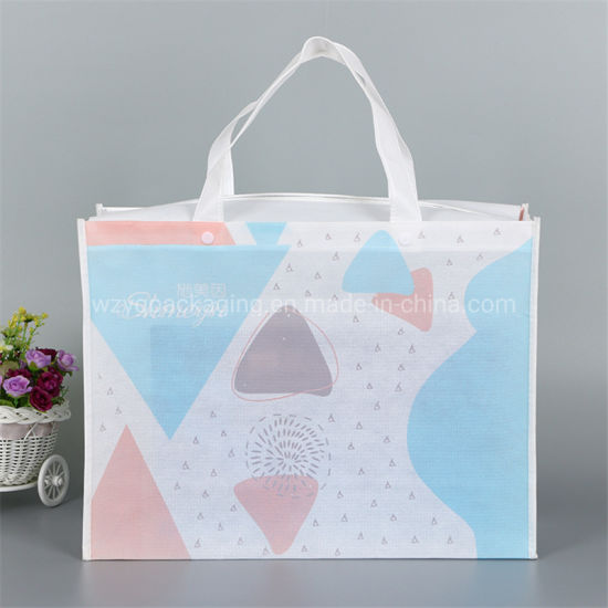 Biodegradable New Design Strong Handle Eco PP Non Woven Shopping Tote Gift Bag with Zipper
