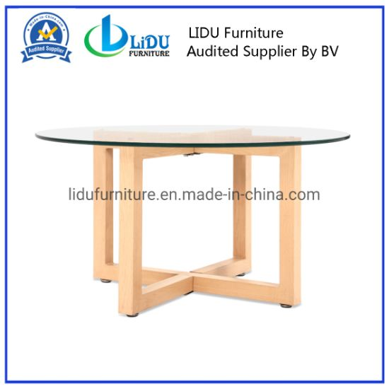 Best Sale Wooden Round Coffee Tables Simple Side Table Round End Table Glass Table Top pictures & photos