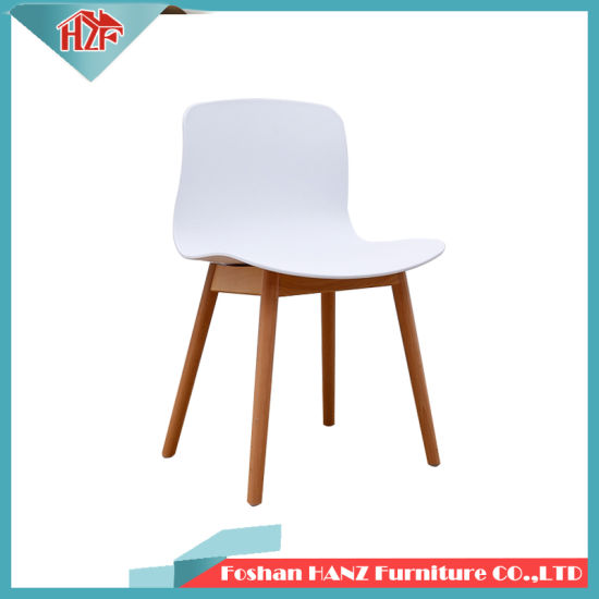 Hotel Furniture Coffee Restaurant Wedding Home Dining Banquet Plastic Chair with Wooden Leg