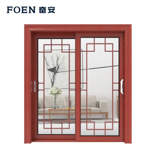 60 Series Wholesale High Quality Building Material Aluminum Wood-Grain Transfer Profile Door
