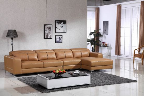 L Shape U Shape Big Corner Home Villa Living Room Hotel Lobby Full Chinese Italy Leather with Manual Movable Headrest Confortable Sofa Set Furniture