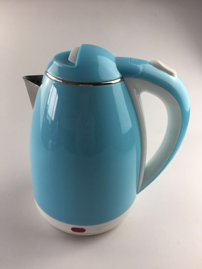 New High Quality Blue Double-Layer Protection Plastic Anti-Scalding 1.8L Electric Kettle