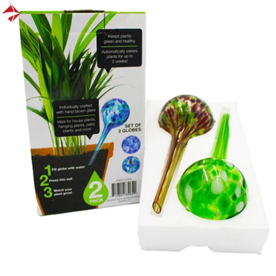 House Watering System 3-Piece Globe Set of Colorful Hand-Blown Glass