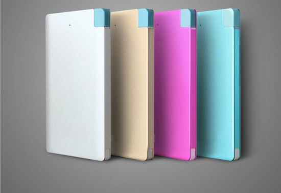 Colorful Metal 4000mAh Credit Card Power Bank with Mirco USB and Lightning Adapter pictures & photos
