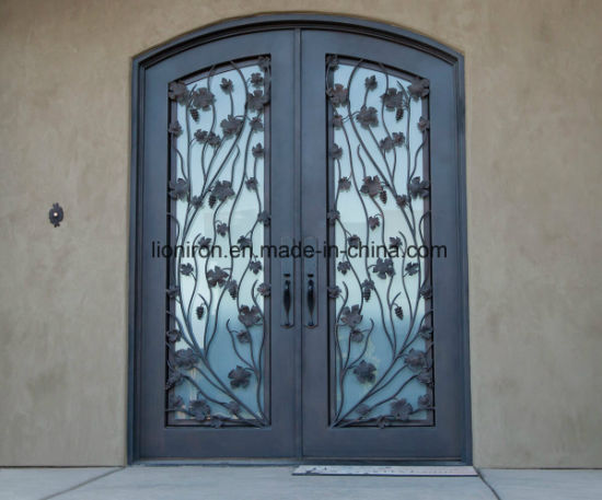 Elegant Design Cast Antique Iron Entry Door with Leaves - China Elegant Design Cast Antique Iron Entry Door With Leaves