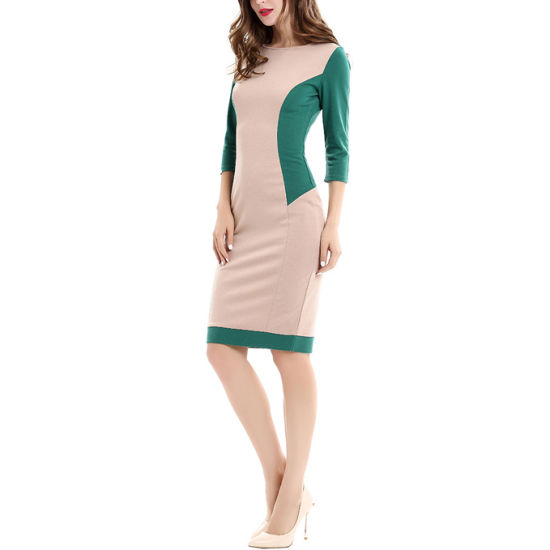 China 2018 Spring Fall Modern Ladies Formal Pencil Dress Long Sleeve