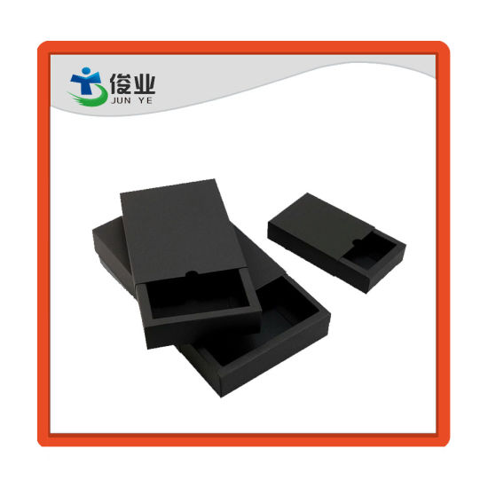 Competitive Price Small Black Paper Box Full Color Printing Drawer Gift Packaging Cardboard Box pictures & photos