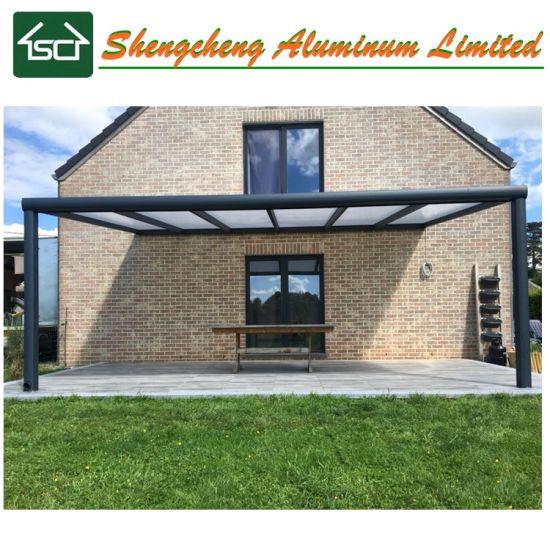 European Standard Flat Polycarbonate Roof Aluminum Structure Outdoor Pergola