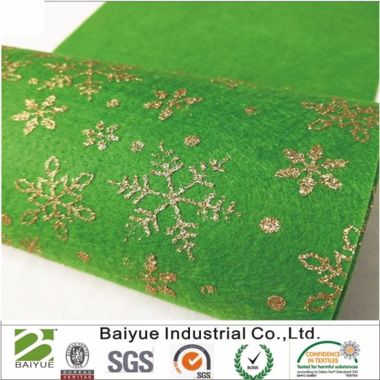 Sparkle Glitter Snowflakes Print Felt for DIY Craft Applique (Green)