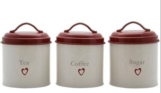 Metal Tea Sugar Coffee Canisters Set, Metal Storage Canisters