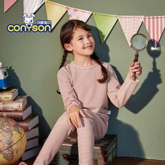 Thermal Underwear Is Suitable for Boys and Girls with Cotton Round Collar in Autumn and Winter Children's Comfortable Pajamas
