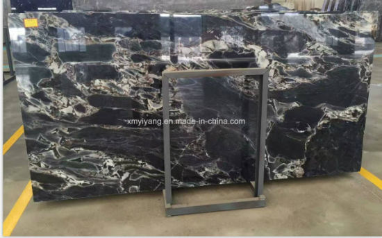 Black Marble Titanic Storm Grey Marble Stone Slabs/Tiles for Countertop/Kitchen/Vanities