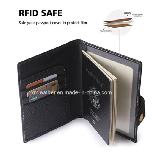 2e31ad9fa228 China Black PU Leather Slim Business Wallet Travel Passport Holder ...