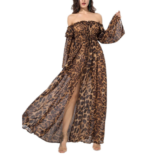 Sexy High Low Ruffle Leopard Print Maternity Long Sleeve Off Shoulder Maxi Dress China Summer Fashion Clothing And Casual Dresses Price Made In China Com