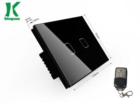 New Type Us RF&Zigbee Touch Switch 2gang1way Black Glass Panel
