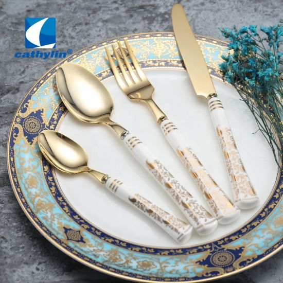 Luxurious Style Royal Bone China Handle Gold Cutlery