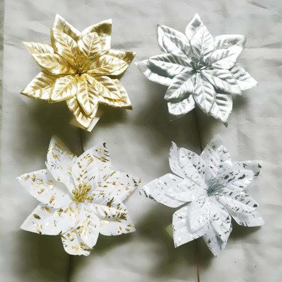 Hot Selling White Cotton Artificial Christmas Flowers Poinsettia for Decoration Xmas Ornament