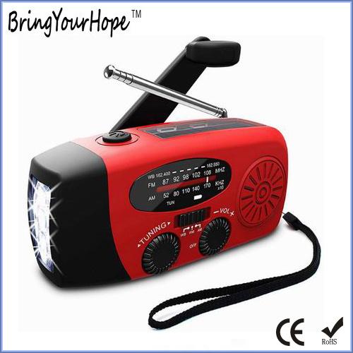 3-LED Lights Portable Solar Radio with Hand Crank Dynamo (XH-FM-017)