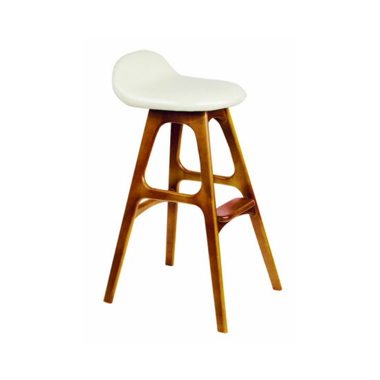 Wooden Espresso Low Back Bar Stool Unique Design Bar Chair with Cushion