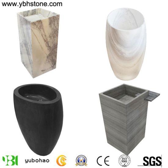 Carrara White/Gray Wooden Vain/Lilac Oval/Square Modern Freestanding Solid Polished Honed Pedestal Stone Basin/Wash Basin/Stone Sink/Wash Bowl of Bathroom