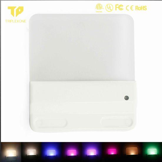 Baby Bedroom 0.5W Auto Sensor Square Us Plug RGB LED Night Light for Us Market