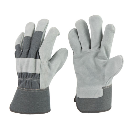 Cow Split Leather Rigger Full Palm Working Glove with Grey Cotton on Back for Construction-3056.06