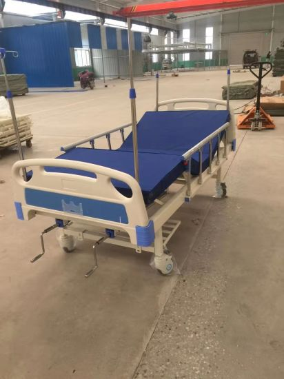 Factory Price Dp-A209 Medical Hospital Furniture ABS Two Crank Manual Hospital Bed Patient Bed with Guardrail
