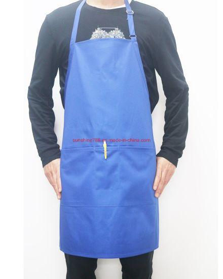 High Quality Polyester Cotton Restaurant Masterchef Work Blue Bib Apron