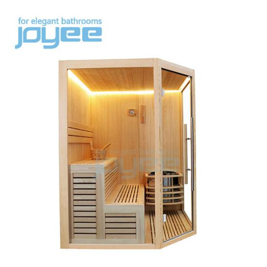 Joyee Factory Sell Diamond Shape Wall Corner Cheap Price Sauna Wood Traditional Sauna Dry Sauna Room for 2 3 4 Person