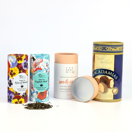 Firstsail Customized Food Grade Inner Aluminium Foil Tea Paper Cans Packaging Coffee Chocolate Round Tube Box