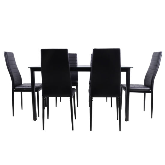 7PCS Furniture Glass Dining Table Chair Set