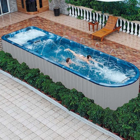 China 8 02m Garden Frame Endless Acrylic Above Ground Swimming Water Pool Whirlpool Bath Tub Jacuzzi Outdoor Swim Pool Spa China Pool And Swim Spa Price