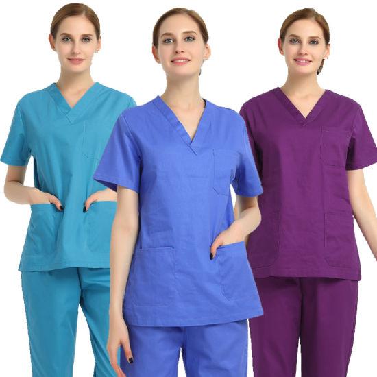 OEM/Customs Collection Sets Tc 65: 35 Reusable Fabric Cotton Hospital Medical Scrubs Nursing Uniforms Scrub for Doctor/Nurse