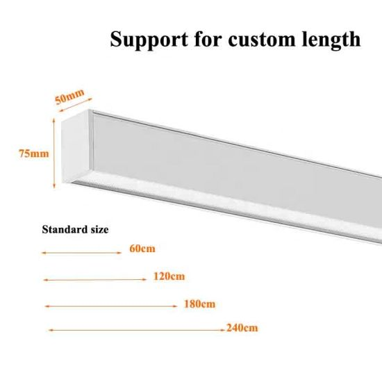 Seamless Connection Aluminium Linear LED Lighting Available in Suspended and Wall Mounted LED Linear Light
