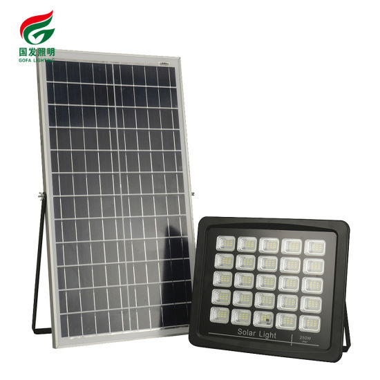 Manufacturer Wholesale IP67 Outdoor Road Square Household Remote Control Dimmable Waterproof 250W LED Solar Flood Light