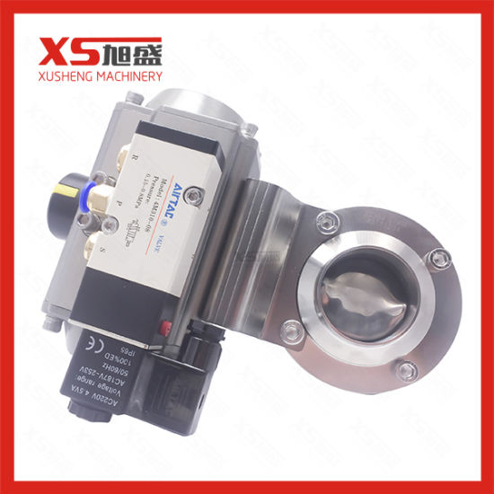 Stainless Steel Sanitary Aluminum Actuator Butterfly Valve with Solenoid Valve