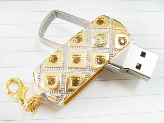 Swivel Jewelry USB Drive, Customized Packing Types/Logos Accepted, 64MB to 32GB Capacity